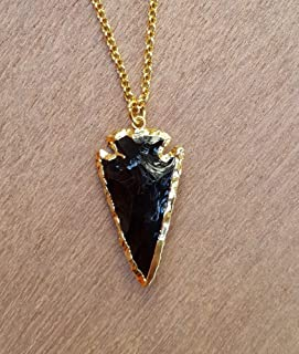 Natural Obsidian Arrowhead Necklace with Gold Plating 22 inches Unisex