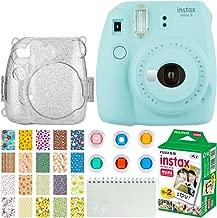 Fujifilm Instax Mini 9 Instant Camera (Ice Blue) + Fujifilm Instax Mini Twin Pack Instant Film (20 Exposures) + Glitter Hard Case + Colored Filters + Album + Sticker Frames Nature Package