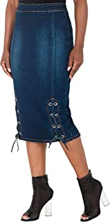Curvy Women's High Waist Lace-Up Double Split Denim Pencil Skirt