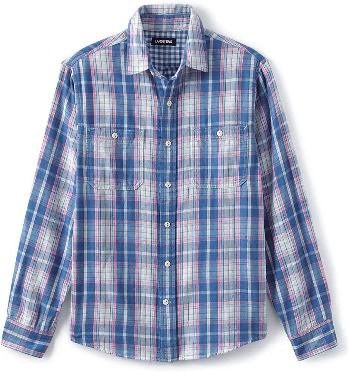 Lands' End Men's Traditional Fit Double Cloth Work Shirt