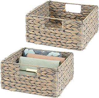 mDesign boîte de rangement en lot de 2 – panier tressé en jacinthe d'eau – accessoire de rangement idéal pour l'organisati...