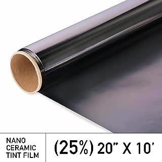MotoShield Pro Ceramic Tint Film [Blocks Up to 99% of UV/IRR Rays] 20 Inches x 10 Feet - Window Tint Film Roll (25%)