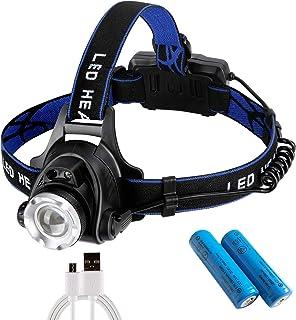 ヘッドライト USB充電式 センサー機能付き 90°調整可能 2つの18650バッテリー付き