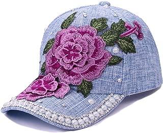 LVUITTON Women's Hats Ladies Pearl Diamond Flower Embroidery Baseball Cap Casual Adjustable Wild Linen Sunscreen Visor Tide Sun Hat Sports Comfortable Breathable (Color : Light blue)