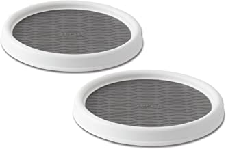 Copco 5220590 Non-Skid Pantry Cabinet Lazy Susan Turntable, 9-Inch, White/Gray, 2-Pack