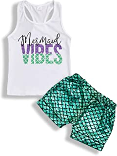 YOUNGER TREE Toddler Baby Girls Summer Clothes Mermaid Short Set Vest Top+Shorts Outfit Clothing Sets
