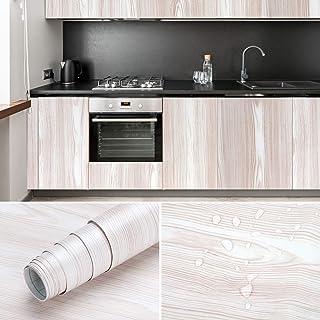 iKINLO Selbstklebende Klebefolie Wasserdicht 0.61  5M Möbelsticker PVC Dekorfolie Holz Folie Möbelfolie Türfolie für Fensterbank?Wände?Möbel ?Küche?Tür?Beige-Weiß?