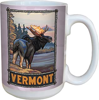 Tree-Free Greetings lm43286 Vintage Vermont Moose by Paul A. Lanquist Ceramic Mug with Full-Sized Handle, 15-Ounce, Multicolored