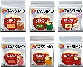 Tassimo Kenco Lovers Coffee Bundle - Tassimo Kenco Cappuccino/Decaf/Flat White/Americano Grande/Colombian/Americano Smooth - 6 Paquetes (80 Porciones)