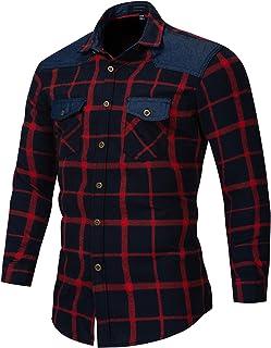 SSBZYES Camisa De Manga Larga para Hombre Camisa a Cuadros 100% Algodón Camisa De Talla Grande para Hombre Camisa Vaquera ...