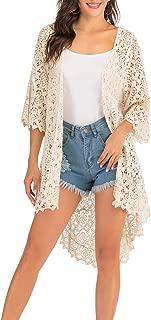 Lace Front Open Sleeveless Top Cardigan Crochet Vest Bikini Cover up Summer Beachwear