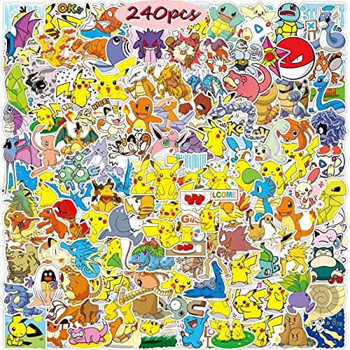 Pegatinas de Pokemon (240 piezas), pegatinas de dibujos animados de anime, bonitas pegatinas de Pikachu para niños, pegatinas de vinilo impermeables para patinetas