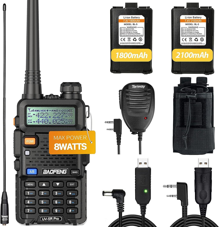 Baofeng UV-5R online shop Pro 8Watt Ham Radio 2100mAh Battery and Handh Atlanta Mall More