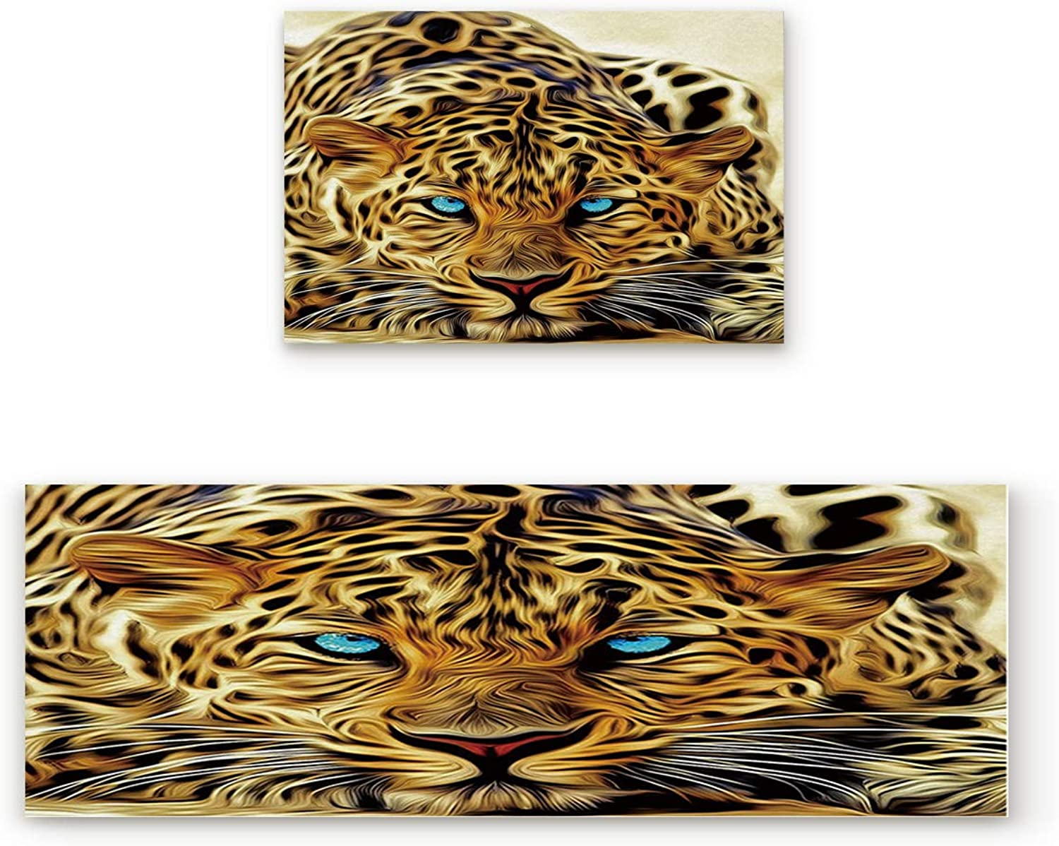 KAROLA 2 Piece Non-Slip Kitchen Mat Doormat Runner Rug Set Thin Low Pile Indoor Area Rugs Leopard with bluee Eyes Wild Animal Print 19.7 x31.5 +19.7 x47.2