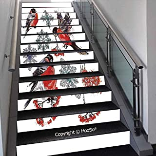 PUTIEN Creative Decorative 3D Self-Adhesive Stair Riser Decal - Stair Stickers Decals Wallpaper for Home Decoration,Curvy Roadway Through The Forest Great Smokey Mountains Chan,39.3