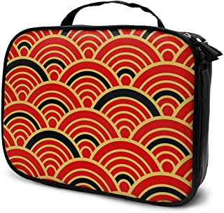 Red Gold Black Traditional Wave Japanese Travel Makeup Train Case Makeup Cosmetic Case Organizer Portable Artist Storage Bag For Cosmetics Makeup Brushes Toiletry Jewelry Digital Accessories