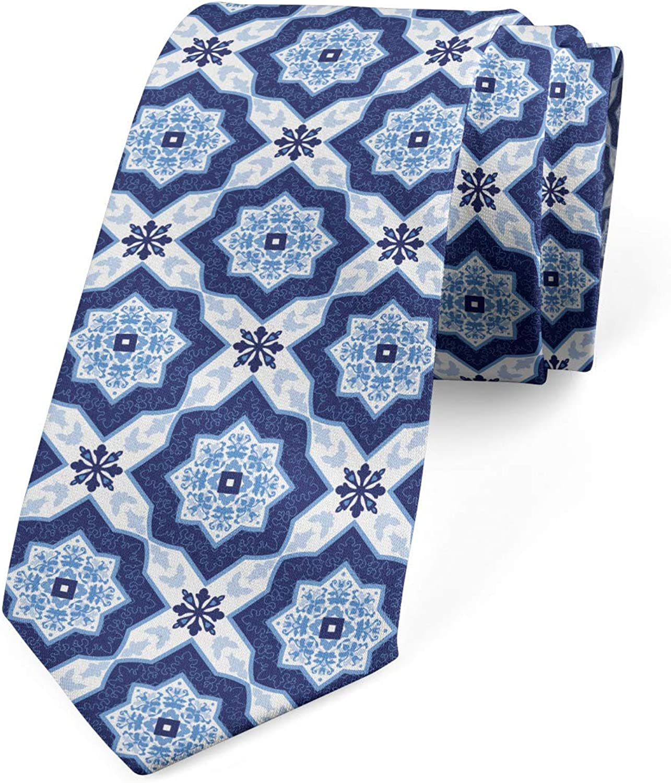 Lunarable Men's Tie, Portuguese Azulejo Tiles, Necktie, 3.7