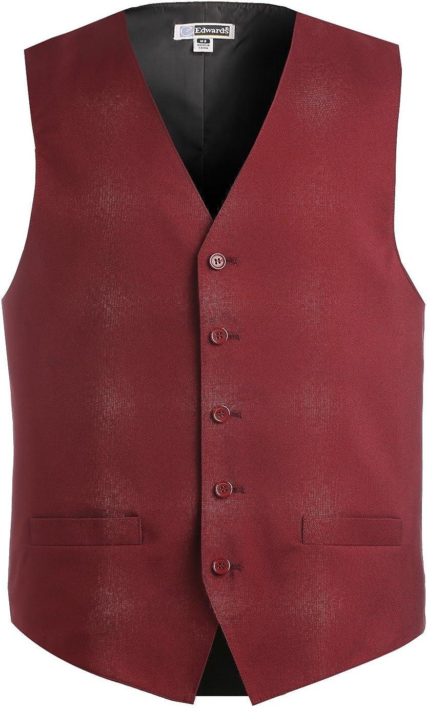 Edwards Garment Men's Textured Weave Fully Lined Economy Vest, Burgundy, Large Tall