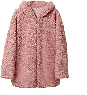 Ladies' Autumn and Winter Thick Plush Loose Hooded Lamb Terry Ring Coat Zipper Open Front Long Sleeve Jacket Outwear