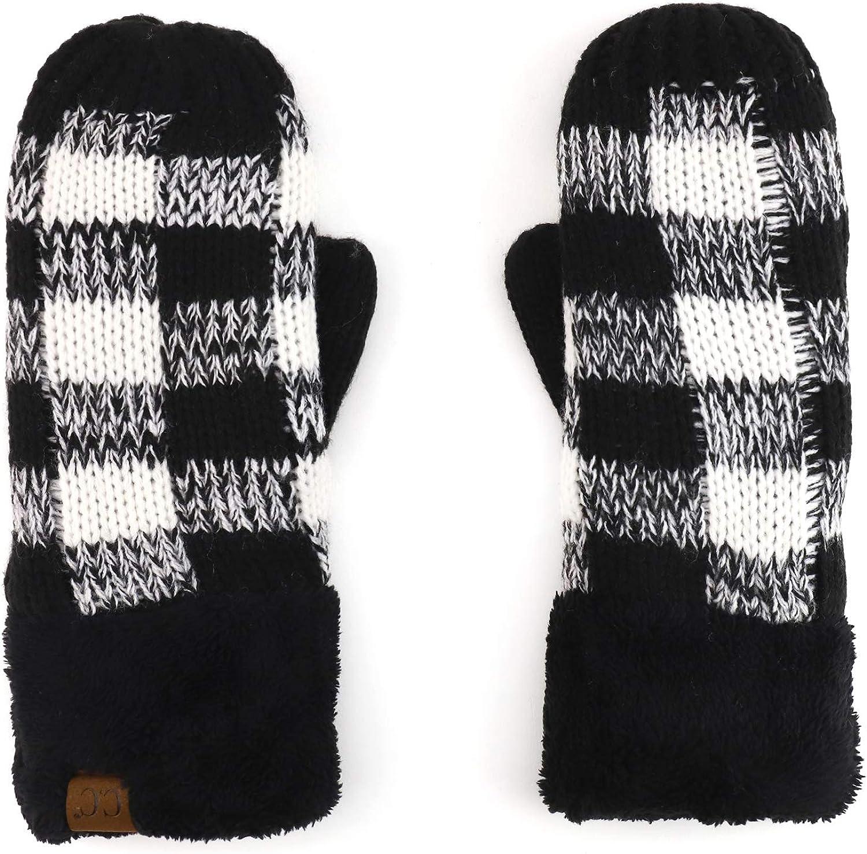 Trendy Apparel Shop Women's Buffalo Checkered Fleece Cuff Mitten Gloves
