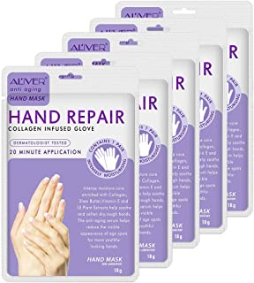 5 Pairs Hands Moisturizing Gloves, Hand Skin Repair Renew Mask Infused Collagen, Vitamins + Natural Plant Extracts for Dry...