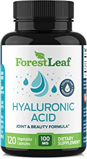 Hyaluronic Acid Dietary Supplement, 100 mg - 120 Vegetable Capsules – Joints, Bones and Connective Tissue Formula - Daily ...