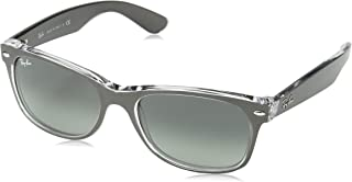 RAY-BAN RB2132 New Wayfarer Sunglasses, Brushed Gunmetal On Transparent/Grey Gradient, 55 mm