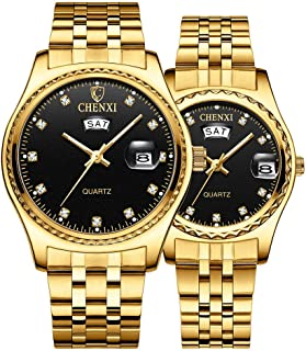 Couple Watches Dress Wrist Watch Golden Watch Men Women Stainless Steel Waterproof Quartz Watch