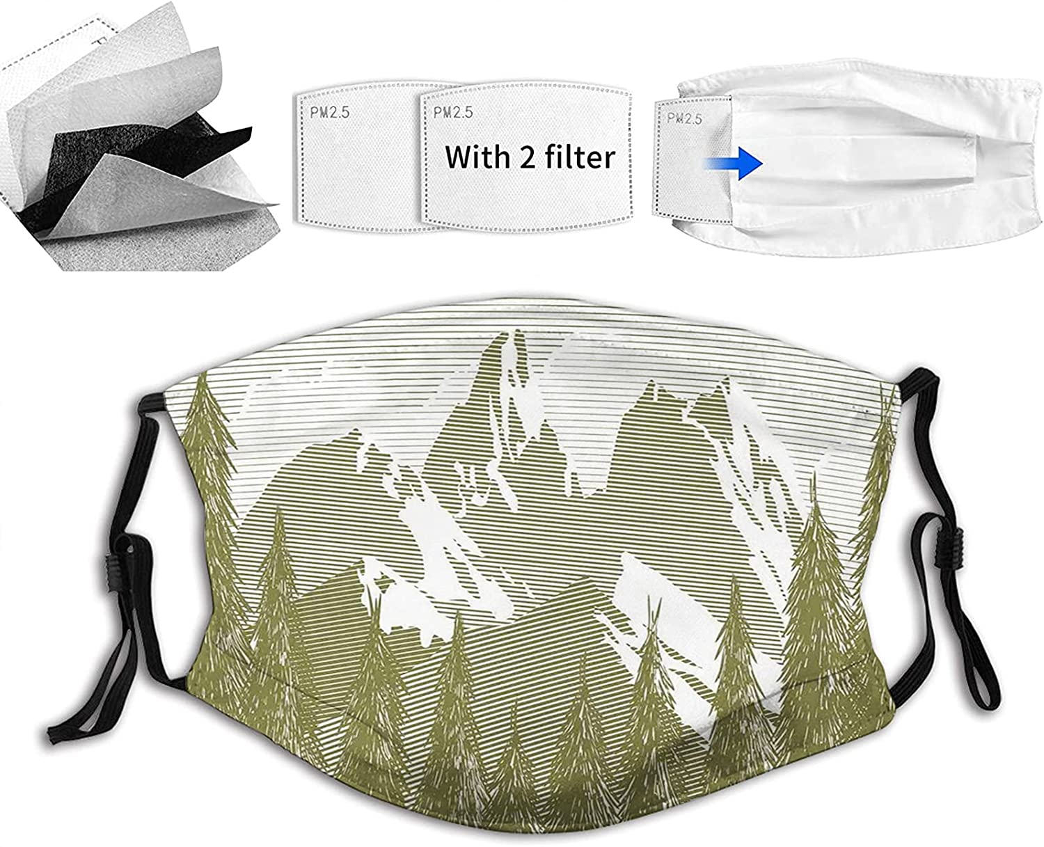 Comfortable Max 85% OFF Printed mask Woodcut Style with Tree Bargain Landscape Image