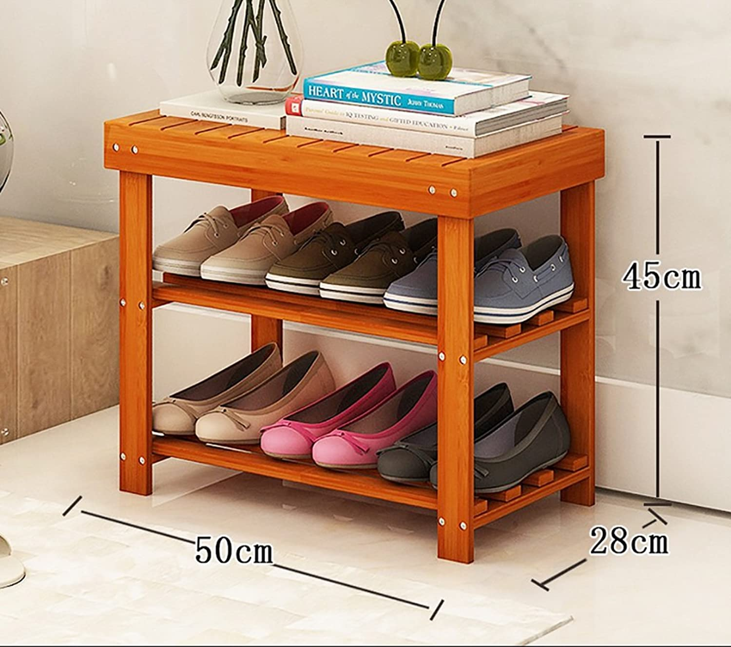 shoes Bench Organizing Rack Natural Bamboo shoes Rack Two-Story Unit Shelf Simple Storage shoes Stool (Size   50  28  45cm)