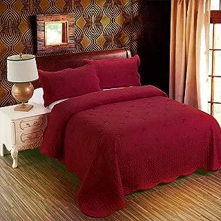 3-Piece Quilt Coverlet Bedding Set Full/Queen Size Bedspread Floral Pattern Exquisite Embroidery Lightweight Hypoallergenic,Burgundy