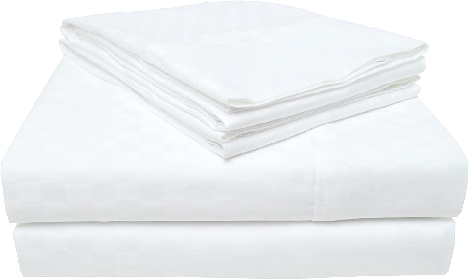 Superior 100% Cotton, 300 Thread Count Checkered Bed Sheet Set, King, White