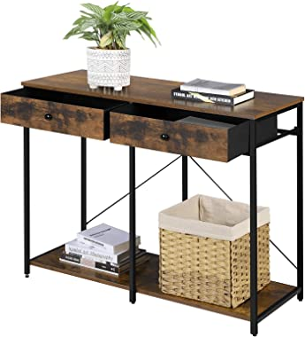 SONGMICS Console Table, Sofa Side Table with 2 Drawers, Metal Frame, for Entryway, Living Room, Rustic Brown and Black ULGS02