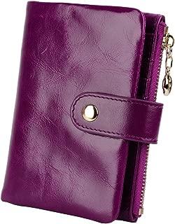YALUXE Women's Compact Small Soft Leather Bi-fold Wallet with Zipper Pocket (Gift Box) Purple