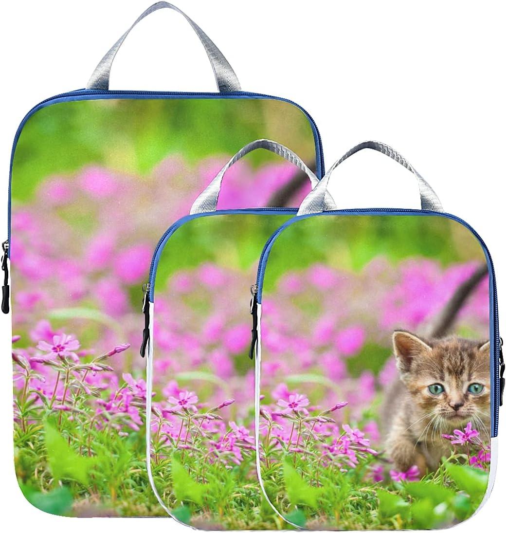Travel Organizer Cute Kitten Cat Packing In Flowers Popular standard Over item handling ☆ Sitting Cube