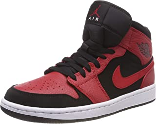Jordan Men's Air 1 Mid, Black/Gym RED-White, 9 M US