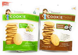 Mrs. Thinsters Cookie Thins Variety Pack - Key Lime Pie and Toasted Coconut - 4 Ounce Bags (Pack of 2)
