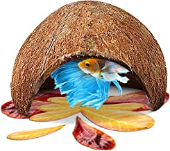 SunGrow Coco Cave, Natural Habitat Made from Coconut Shells, Soft-Textured Smooth Edges & Spacious Hideout for Small Fish to Rest and Breed, Maintains Water Quality and pH Level