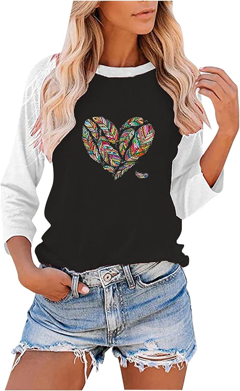 RFNIU Womens Graphic T Shirts Fall Fashion Casual Color Block Long Sleeve Pullover Tunics Loose Crewneck Blouses Tops