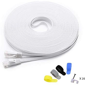 Cat 6 Ethernet Cable 100 ft (at a Cat5e Price but Higher Bandwidth) Flat Internet Network Cables - Cat6 Ethernet Patch Cable Short - Computer LAN Cable White + Free Cable Clips and Straps