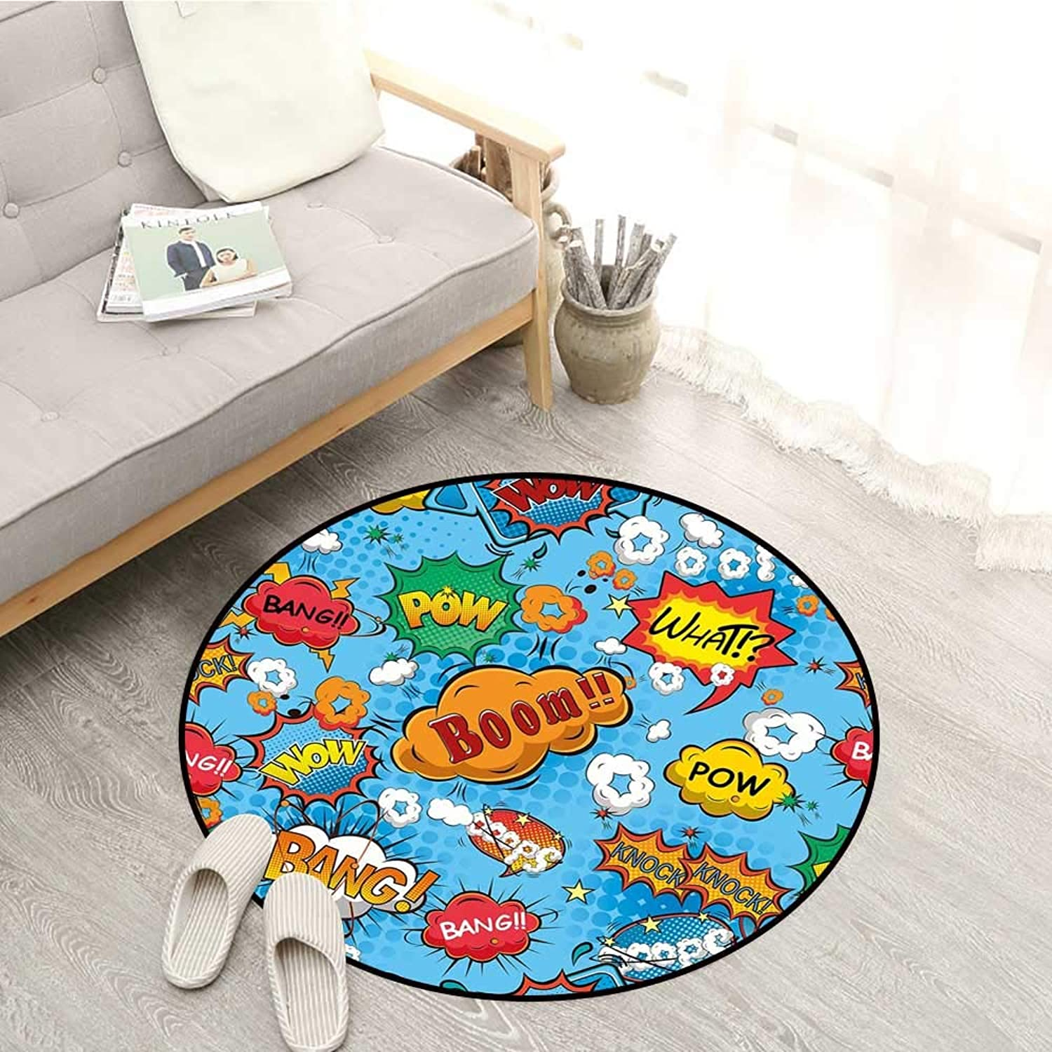 Superhero Skid-Resistant Rugs colorful Comic Style Icons Effects Boom Scream Magazine Signs Pop Art Illustarion Sofa Coffee Table Mat 3'11  Multicolor