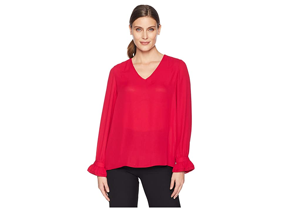 Ivanka Trump Solid Flared Long Sleeve Blouse (Cranberry) Women's Blouse, Red