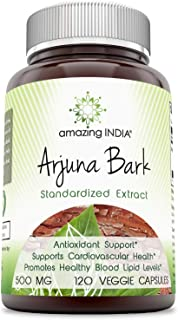Amazing India Arjuna Extract- 500 Mg, 120 Veggie Capsules (Non-GMO) - Antioxidant Support - Supports Cardiovascular Health - Promotes Healthy Blood Lipid Level