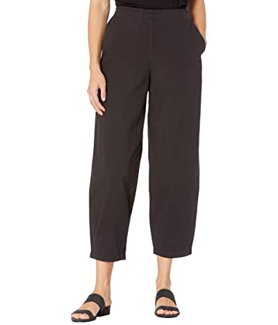 Eileen Fisher Organic Cotton Hemp Stretch Ankle Lantern Pants (Black) Women