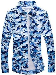 b59249ff3b5 Anhon Spring Men Casual Shirts Fashion Long Sleeve Printed Button-Up Formal  Business Polka Dot