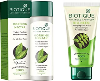 Biotique Morning Nectar Flawless Skin Lotion for All Skin Types, 190ml And Biotique Bio Neem Purifying Face Wash for All S...