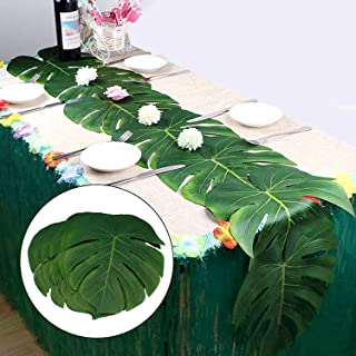 Laoban Large Tropical Palm Leaves   24pcs Artificial Safari Leaves   DIY Palm Leaf Table Runner   Hawaiian Luau Party Supplies   Wedding Place Mats   Jungle Beach Birthday Themed Table Decorations