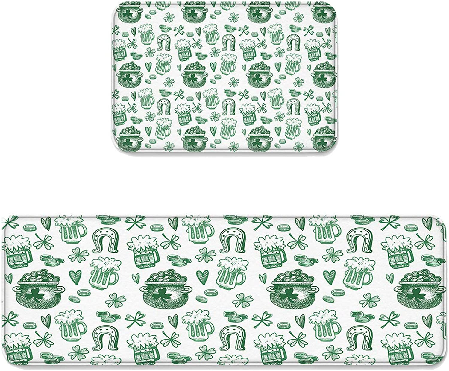 Kitchen Rug Sets 2 Piece Floor Mats Non-Slip Rubber Backing Area Rugs St Patrick's Day Hand Drawn Graffiti gold Coin Beer Doormat Washable Carpet Inside Door Mat Pad Sets (19.7  x 31.5 +19.7  x 63 )