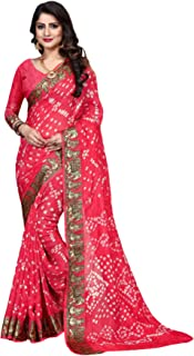 Indian Traditional Pink Bandhej Art Silk Zari weaving Festival Bandhani Printed Saree Blouse Sari 6316 4