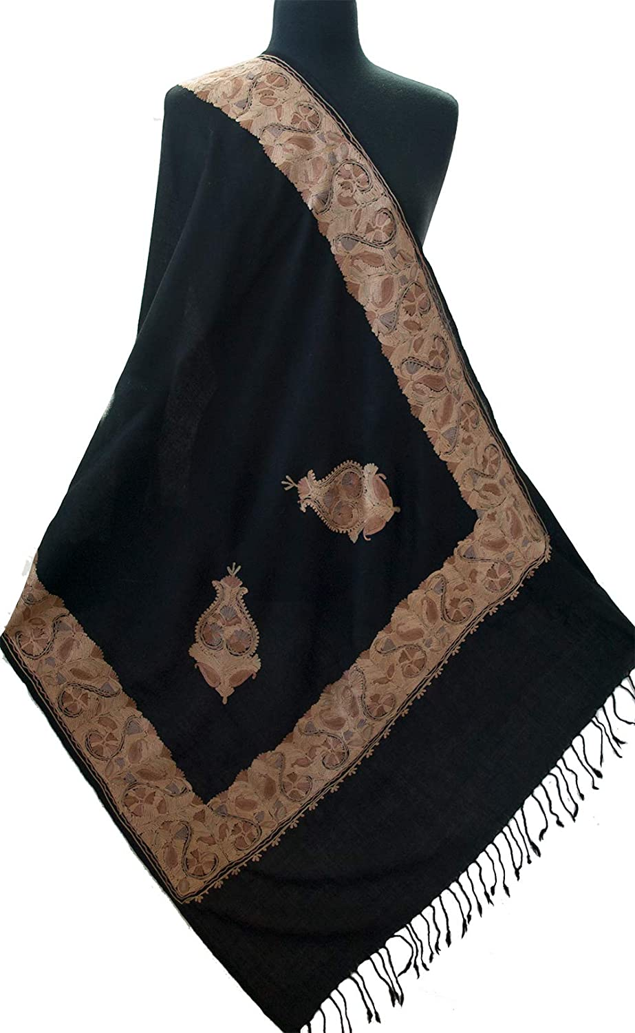 Black Crewel Embroidered Wool Shawl With golden Hues and Cream Pashmina Style